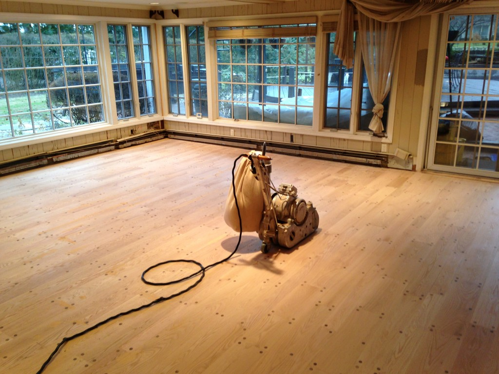 Refinishing the hardwood floor