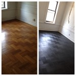 An old oil based beat up floor and a new modern twist on Parquet with Rubio.