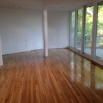 We weaved in a large portion of this floor to existing floor and refinished with PolyWhey Water Base Polyurethane.