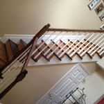 We refinished the stairs and posts for this client who wanted a darker color than natural.