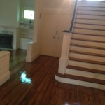 We stained with Duraseal Chestnut and finished with Oil Based Polyurethane.