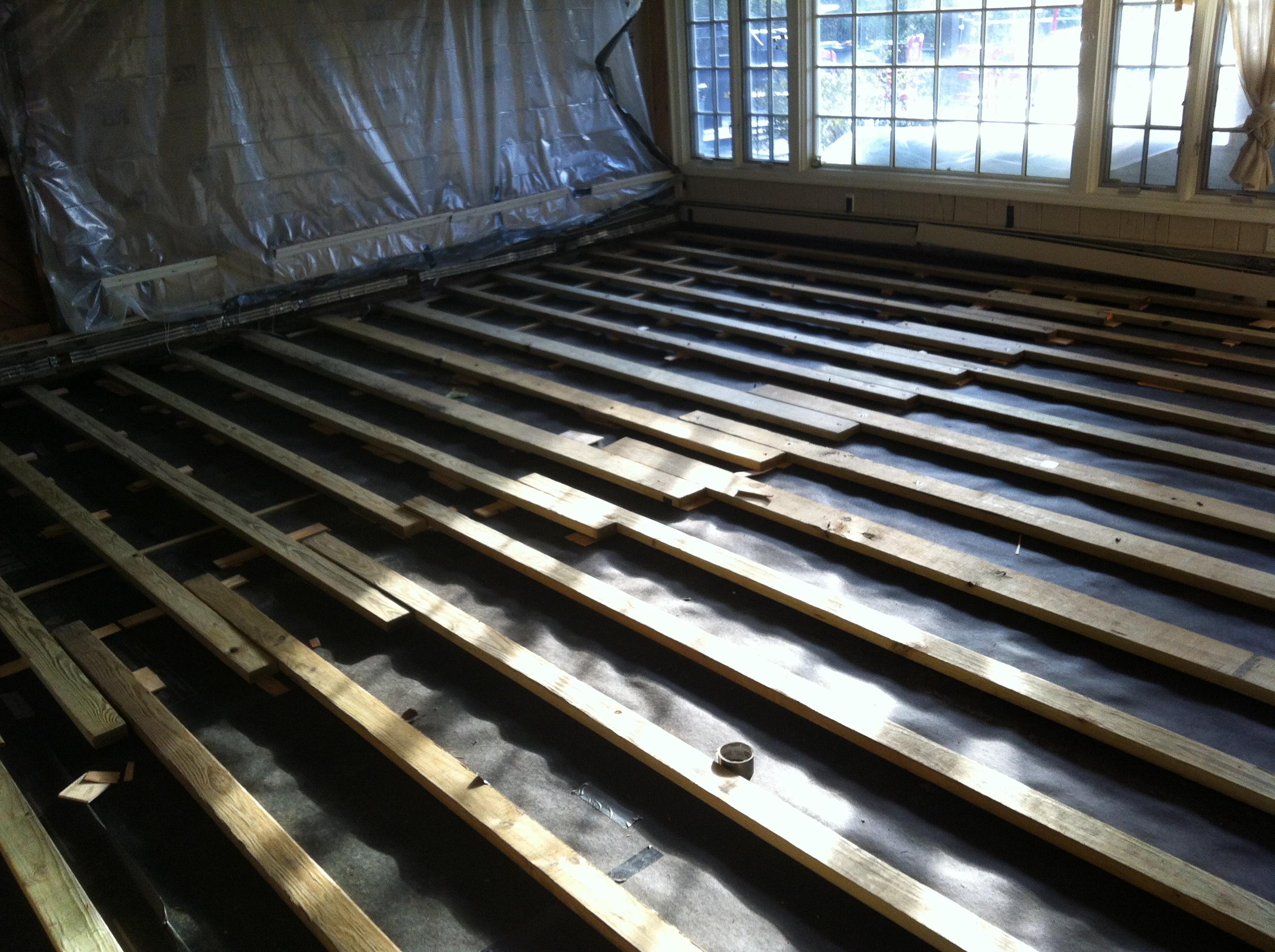 2 4 Sleepers Shimmed Over Concrete Slab